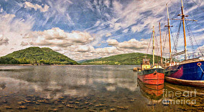 Puffer Digital Art - Loch Fyne Digital Painting by Antony McAulay