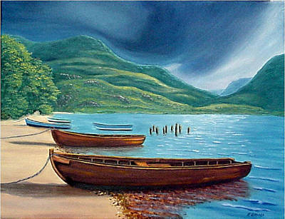 Art Print featuring the painting Loch Maree Scotland by Fran Brooks