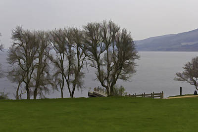 Loch Ness And Boat Jetty Next To Urquhart Castle Art Print