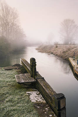 Art Print featuring the photograph Lock Gates On A Still Misty Morning. by Trevor Chriss