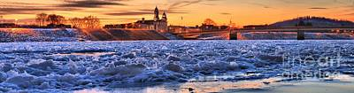 Photograph - Lock Haven Winter Sunset Panorama by Adam Jewell