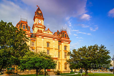 Lockhart Courthouse II Main Street - Lockhart Texas Art Print by Silvio Ligutti