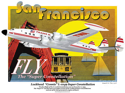 Drawing - Lockheed L-1049g Super Constellation by Kenneth De Tore