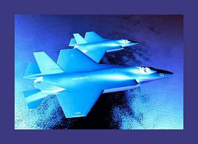 Lockheed Martin F 35 Joint Strike Fighters Night Mission Medium Border Art Print