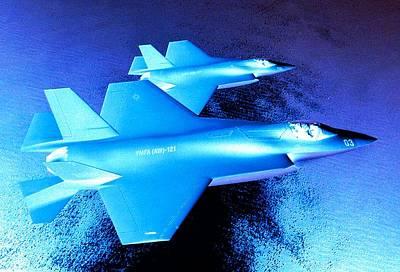 Lockheed Martin F 35 Strike Fighters Night Mission Art Print