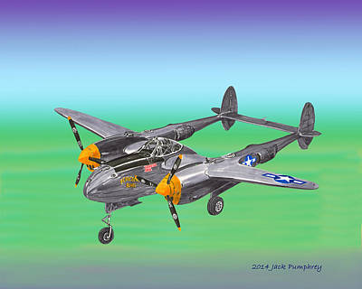 Twin Tailed Painting - Lockheed P 38 Lightning by Jack Pumphrey