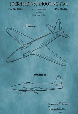Jets Mixed Media - Lockheed P-80 Patent Blue by Dan Sproul