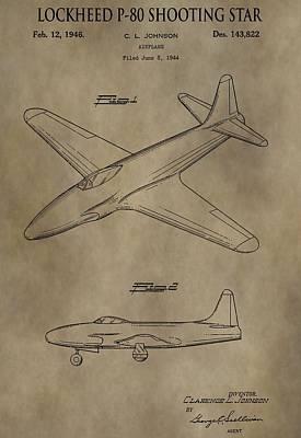 Jet Star Digital Art - Lockheed P-80 Patent by Dan Sproul