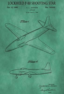 Jet Star Digital Art - Lockheed P-80 Patent Green by Dan Sproul