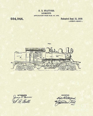 Train Drawing - Locomotive 1909 Patent Art by Prior Art Design