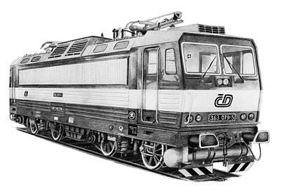 Drawing - Locomotive 363 by Milan Surkala