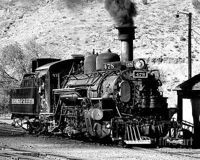 Photograph - Locomotive Black And White Train Steam Engine by Jerry Cowart