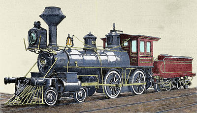 Steam Locomotive Photograph - Locomotive Drawing R Loewenstein 'la by Prisma Archivo