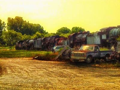 Nickel Yellow Photograph - Locomotive Graveyard by Thomas Woolworth