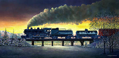 Locomotive In Winter Art Print
