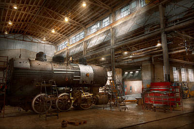 Locomotive - Locomotive Repair Shop Art Print by Mike Savad