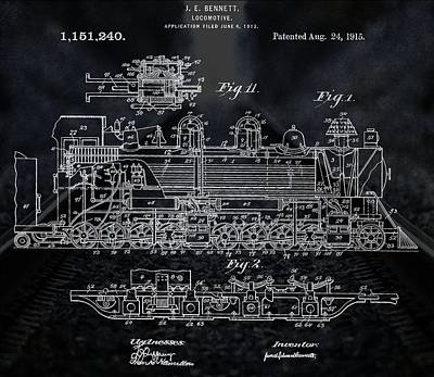 Passengers Mixed Media - Locomotive Patent by Dan Sproul