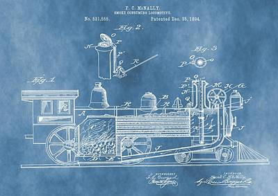 Locomotive Patent On Blue Art Print