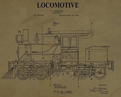 Locomotive Patent Postcard Art Print