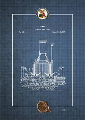 Digital Art - Locomotive Steam Engine Vintage Patent Blueprint by Serge Averbukh