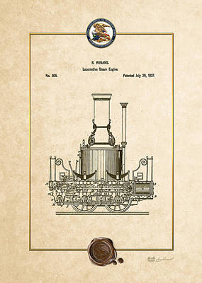 Digital Art - Locomotive Steam Engine Vintage Patent Document by Serge Averbukh