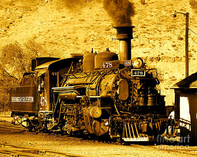 Photograph - Sepia Locomotive Coal Burning Train Engine   by Jerry Cowart