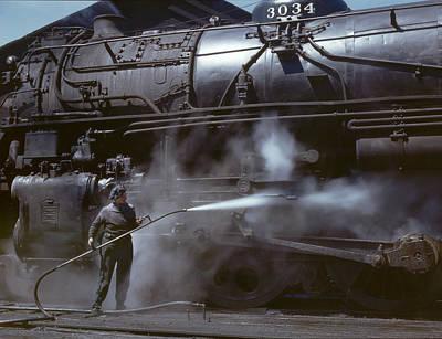 Locomotive Wiper In Clinton Iowa 1943 Art Print by Mountain Dreams
