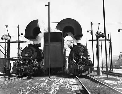 Terminal Photograph - Locomotives In A Railway Yard by Underwood Archives