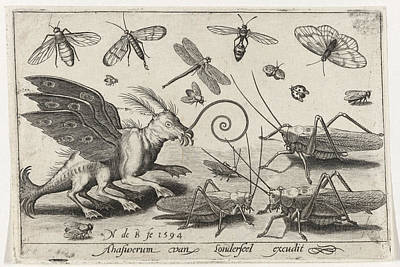 Locusts And Fantasy Creature With Wings And Webbed Art Print by Nicolaes De Bruyn
