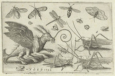 Locusts And Fantasy Creature With Wings, Nicolaes De Bruyn Art Print