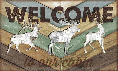 Reclaimed Wood Wall Art - Painting - Lodge Welcome by Jennifer Pugh