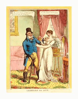 Old Boots Drawing - Lodgings To Let, C.w., London, 1814, A Fashionably Dressed by Litz Collection