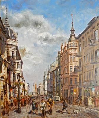 Painting - Lodz - Piotrkowska Street by Irek Szelag