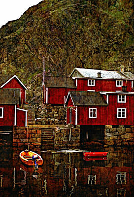 Lofoten Fishing Huts Overlay Version Art Print by Steve Harrington