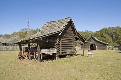 Art Print featuring the photograph Log Cabin And Barn by Charles Beeler