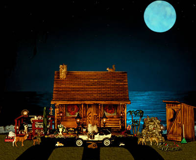 Photograph - Log Cabin And Out House  Scene With Old Vintage Classic 1908 Model T Ford In Color by Leslie Crotty