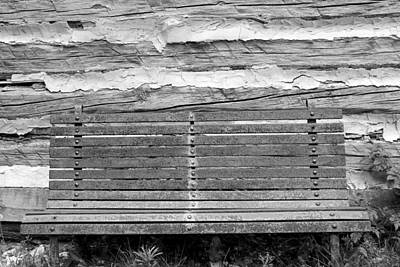 Log Cabin Bench 1 Black And White Art Print by Mary Bedy