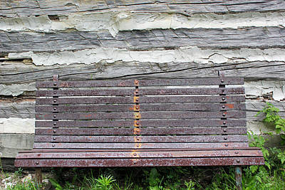 Log Cabin Bench 1 Art Print by Mary Bedy
