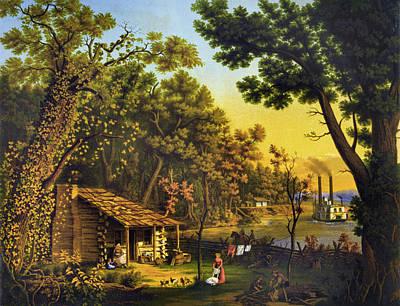 Pioneer Woman Painting - Log Cabin, C1870 by Granger