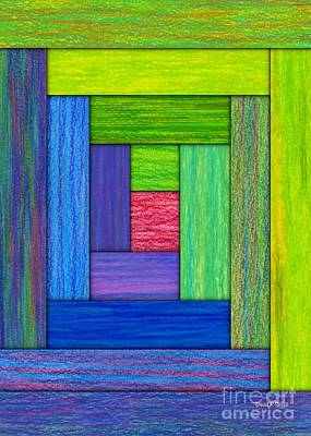Colored Pencil Abstract Painting - Log Cabin Card by David K Small