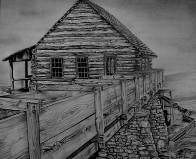 Cabin Wall Drawing - Log Cabin by Don Pritchett