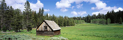 Log Cabins Photograph - Log Cabin In A Field, Klamath National by Panoramic Images