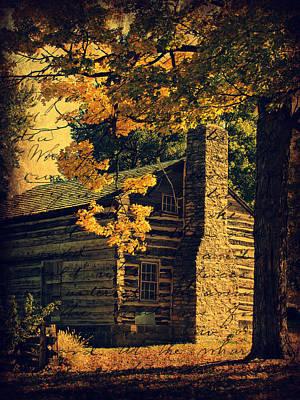 Iowa Digital Art - Log Cabin In Autumn by Cassie Peters