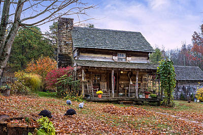Photograph - Log Cabin In Autumn by Mary Almond