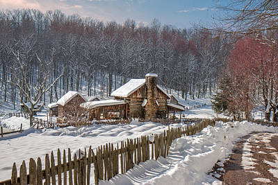 Photograph - Log Cabin In Snow by Mary Almond