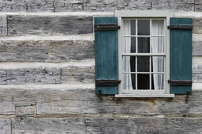 Cabin Window Photograph - Log Cabin by Mike Burgquist
