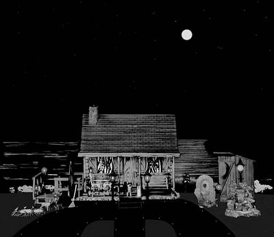 Photograph - Log Cabin Scene Near The Ocean At Midnight In Black And White by Leslie Crotty