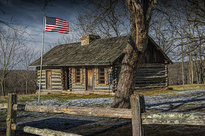 Log Cabin Art Photograph - Log Cabin Outpost In Missouri With American Flag by Randall Nyhof