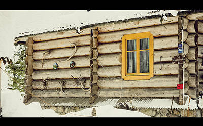Christmas Holiday Scenery Photograph - Log Cabin by Pati Photography