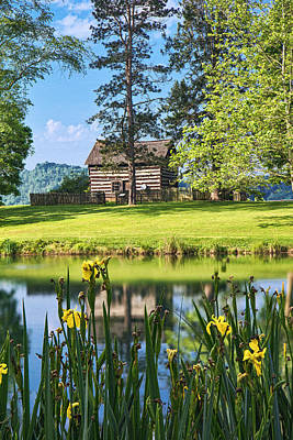 Photograph - Log Cabin Reflections by Mary Almond